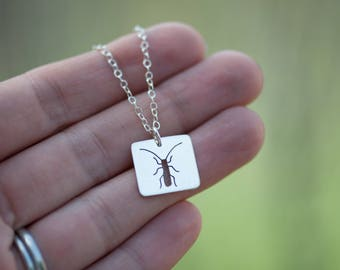 ON SALE** Little Nymph Insect Necklace Handmade from Sterling Silver