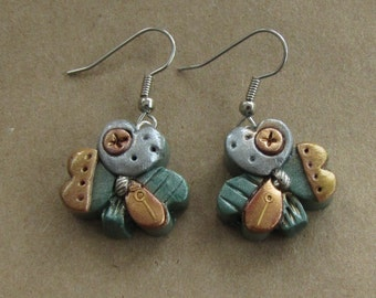 St. Patrick's Day Steampunk Earrings - Lucky Irish Shamrock - Polymer Clay #003