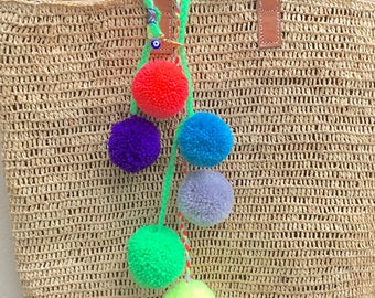 PomPoms, Bag decoration, pompom bag charm, coloured pompoms, beach bag, decoration, bag decor, zipper charm, bag charms, evil eye, Pom Pom