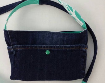 """Upcycled Denim Jean & Floral with Bicycles Crossbody With a Long 55"""" Strap Hands Free Purse"""