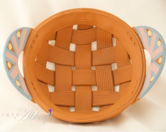 Woven Clay Basket signed by Rina Peleg