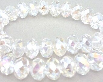 12 clear crystal 12mm beads, faceted rondelles, transparent Chinese crystal