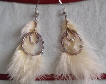 Cream earrings, feathers and beads
