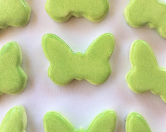 10 Handcrafted Lime Green Butterfly Tiles That Can Be Used In Mosaic And Other Mixed Media Projects