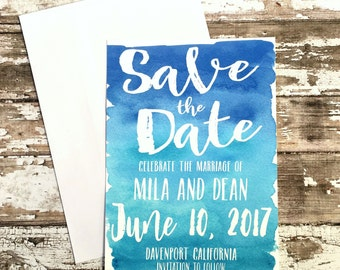 Blue save the date cards, set of 10 turquoise printed handmade wedding cards, watercolor announcements, simple beach wedding invitations
