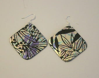 Metallic Square Leather Earrings
