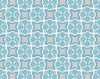 Medallion Fabric from Rosecliff Manor by Emily Taylor for Riley Blake Designs C3921 Teal - Remnant, 24 Inch