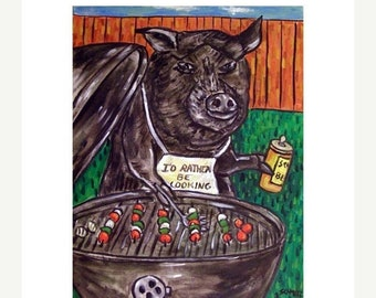 Pig Cooking Out Animal Art Print