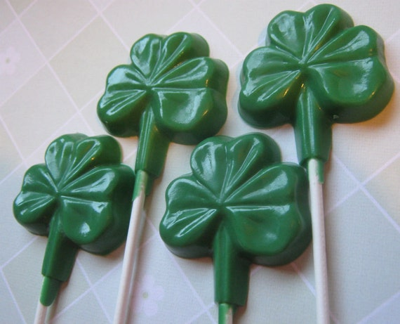 One dozen large shamrock clover sucker lollipop party favors