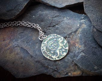Old Coin Necklace, Silver Coin Necklace, Ancient Coin Necklace, Antique Silver Coin, Antique Coin Necklace, Silver Coin Necklace, Old Coin