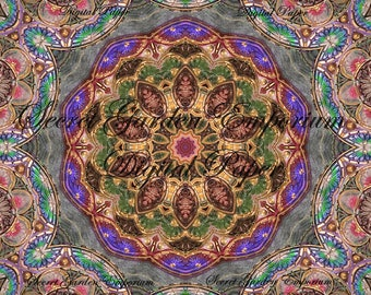Digital Art -  with a Stained Glass Kaleidoscope  Pattern - for Decorative Paper, Transfers, Cards, Scrapbook - #76