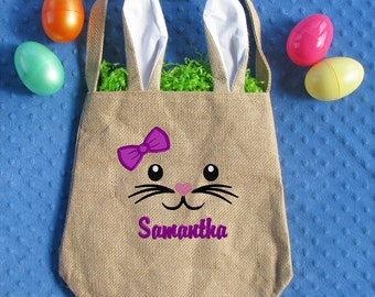 Personalized Easter Basket, Easter Bunny Bag, Burlap Easter Basket, Girl Easter Basket, Boy Easter Basket, Monogrammed Easter, Bunny Ears