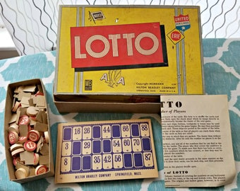 Vintage Milton Bradley Lotto Game 4118 Made in U.S.A. Copyright 1939