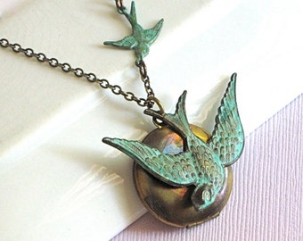 Bird Locket Necklace - Verdigris Patina, Brass Locket, Locket Necklace, Bird Jewelry, Nature Jewelry