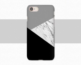 Marble iPhone X Case, iPhone 8 Plus, iPhone 8 Case, Geometric iPhone, Minimalist iPhone 7 Case, Black and Gray, Gift for Him, iPhone 6S Case