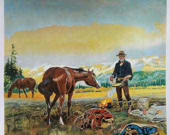 Partners - Charles Marion Russell hand-painted oil painting reproduction,cowboy cooking and horses with snow covered mountain background art