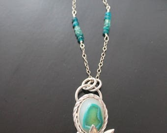 Aqua Druzy and Sterling Succulent Necklace