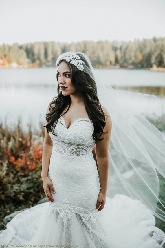 Ivory Wedding Veil, Bridal Cathedral Veil, Juliette Veil, Boho Veil, Elegant Veil, Lace Veil, Wedding Vail, Fascinator, Hat Veil, Bride