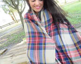 Plaid Blanket Scarf, Winter Scarf, Bohemian Scarf, Wool Blanket Scarf, Warm Tartan Scarf, Tartan Scarf, Boho Shawl For Women, Plaid Scarf