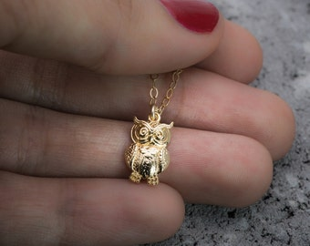 Owl necklace, bird necklace, owl charm, animal necklace, gold charm necklace, tiny necklace, dainty necklace, gift under 50, gift for her.