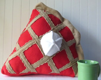 Cherry Pie Slice Pillow, Plush Pie, Food Pillow, Food Plush