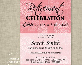 Surprise Retirement Party Invitation Pink Adult Party Invite Floral Invite Dahlia Invitation Farewell Celebration Printable JPG File 13