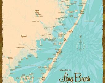 Long Beach Island, NJ Map - Wood or Metal Sign