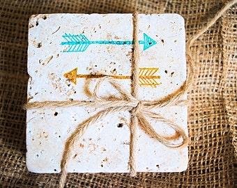 Double Arrows Coaster, Arrows, Trendy Home Decor, Christmas Gift, Black Friday Sale, White Elephant Gift, Set of 4 Handmade Coasters
