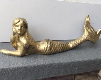 Mermaid/ Cast Iron Mermaid/ Paper weight/ Nautical Decor/ Beach House Decor/ Pool Decor