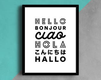 Hello Print, Hello Poster, Language Print, Language Wall Art, Typography Print, Black and White Print