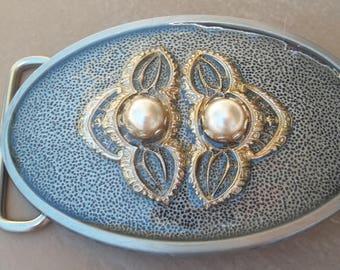 Gold and Pearl Vintage Metal Belt Buckle