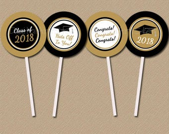 INSTANT DOWNLOAD Graduation Cupcake Toppers Printable Graduation Party Decorations, Black and Gold Graduation Centerpiece, Cupcake Decor G2
