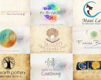 Logo Design Branding, Logo Branding, Branding Package, Logo Design, Watercolor Logo, Graphic Design, Brand Identity, Whimsical Logo, Gold, .