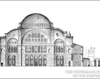 Poster, Many Sizes Available; Hagia Sophia Cross Section