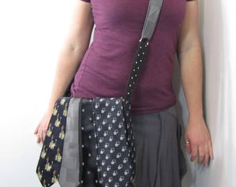 Necktie Messenger Purse Grey and Black and Plum