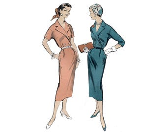1950s Sheath Dress Pattern Surplice Notched Collar Drop Shoulder Slenderline Day Dress Plus Size Bust 42 Advance 8479 Vintage Sewing Pattern