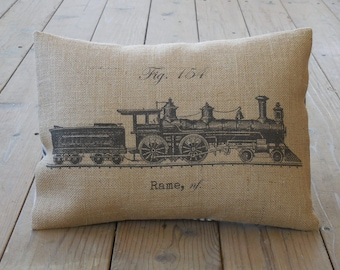 French train Burlap Pillow, Shabby Chic, Farmhouse Pillows, V14,  INSERT INCLUDED