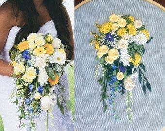 Custom Hand Embroidered Wedding Bouquet