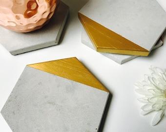 Gold Edge Concrete Hexagon Coasters Industrial Geometric