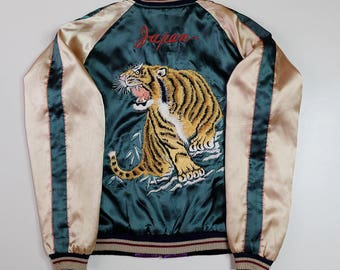 Vintage Japanese Roaring Tiger Tora Dragon Ryu Wheels Locals Hotrod Tailor Toyo Embroidered Embroidery Sukajan Satin Souvenir Jacket SK1461