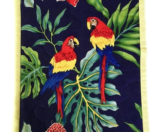 Parrot Mug Rug Trimmed in Yellow, Macaw Mini Wallhanging, Parrot Wall Quilt, Parrot Mug Rug, Parrot Mouse Pad, Quiltsy Handmade