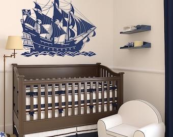 Pirate Ship Vinyl Wall Decal for nursery, playroom, kid's room, living room + more K620