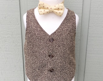 Brown Vest, Brown Tweed Vest, Boys Brown Vest, Baby Vest, Brown Tweed Waistcoat, Toddler Tweed Vest, Ring Bearer Outfit, Brown Vest for Boys