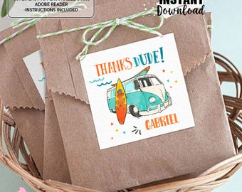 """INSTANT DOWNLOAD - EDITABLE Surf Birthday 2.5"""" Favor tags - Summer Surf Party decorations Surf favor tags Surf party favors"""