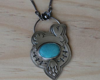Sterling Silver and Turquoise Bunny Necklace, Sterling Silver Metalwork, One of a Kind Necklace