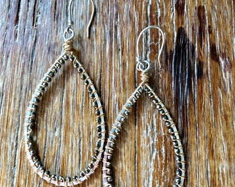 Mixed Metal Pyrite Pear Shaped Earrings