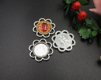 10pcs 14mm Round Cabochon Base Setting,14mm Trays,Round Blank Findings Trays,Silver Bezel Connector-b2165-B