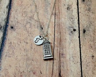 Phone booth initial necklace - phone box necklace, travel jewelry, British necklace, London necklace, silver phone booth necklace
