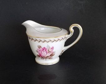 """Vintage 1950s Noritake China Morimura Bros. 5048 """"Rosemont"""" Pattern Creamer Wide Light Gray Rim, Pink Rose on White Base, Laurel, Gold Trim"""