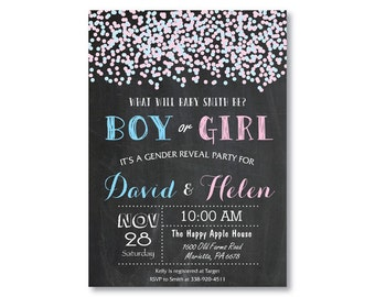 Confetti Gender Reveal Invitation. Gender Reveal Party Invitation. Chalkboard. He or She. Blue and Pink Baby Boy or Girl. Printable Digital.